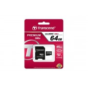Micro SDHC card + Adapter (64GB class 10) TRANSCEND Premium 300X