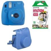 Fujifilm Aparat Fuji Instax Mini 9 Blue + Case + film 10 ( Torba 10 wkładów na zdjęcia ; niebieski )