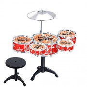 Anbau Cool Playing Drum Sound Musical Toy Drum Percussion Instruments Set Kids Play Fun Birthday Gift - 5 Drums + Stool Red