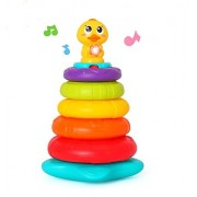 Rainbow Stacking Duck Baby Toy with Colorful Ring Stackers with Music