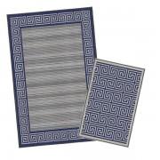 Korhani Tompson Outdoorteppich-Set 160x213 cm + 80x112 cm Blau Mehrfarbig