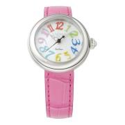 【82%OFF】ラウンドウォッチ ウィメンズ ケース:パールホワイト ベルト:フクシア ファッション > 腕時計~~レディース 腕時計