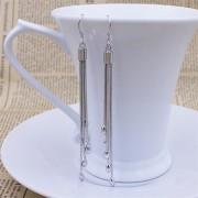Cercei placati argint lungi pandantiv oval