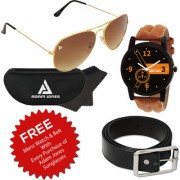 Adam Jones Classic Brown Gold Aviator with Free Wake Wood Watch + Belt