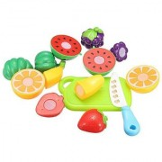 Bhuvi Realistic Sliceable Fruits Cutting Play Toy Set with Velcro Multi Colour
