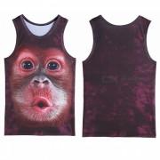 Impresion 3D del mono del orangutan se divierte el chaleco sin mangas para los hombres (l)