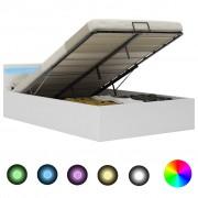 vidaXL Легло повдигащ механизъм с LED бяло изкуствена кожа 120x200 cм