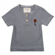 Little Indians Shirt Balloon - Small Stripe Rib - Size: 8 years