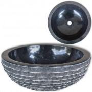 vidaXL Basin Marble 40 cm Black