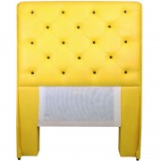 Cabeceira Estofada Roma Amarela com Capitonê para Cama Box Solteiro 1m - Pethiflex