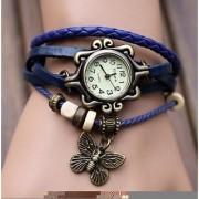 Round Dial Blue Leather Strap Womens Quartz Watch 6 month warranty
