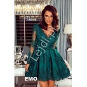 Koronkowa elegancka rozkloszowana sukienka butelkowa zieleń - Amelia