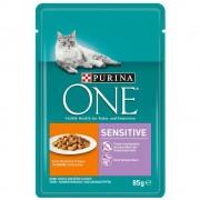 12x85g Purina One Sensitive frango e cenouras gatos