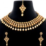 Silver Shine Antique Mesmerising Gold Plated Traditional Party Wear Round Diamond Studded Multi Pearl Drop Bridal Designer Wedding Necklace jewellery set for Girls And Women