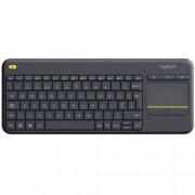 Клавиатура Logitech K400 Plus Touch, тъчпад, безжична, 10 метра обхват, черна, USB