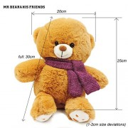 Mr. Bear & His Friends 30cm Adorable Plump Teddy Bears Plush Toys Stuffed Fluffy Teddy Bear Soft Dolls Toy for Girls Children Kids Birthday Gifts - Brown