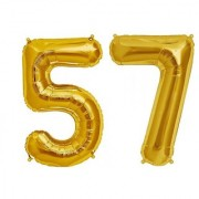 De-Ultimate Solid Golden Color 2 Digit Number (57) 3d Foil Balloon for Birthday Celebration Anniversary Parties