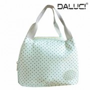 DALUCI Fashion Portable Insulated Canvas Stripe Picnic Carry Case Thermal Portable Food Lunch Box(Lite Green)