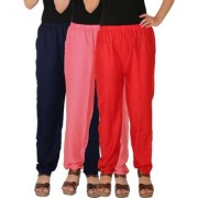 Culture the Dignity Women's Rayon Solid Casual Pants Office Trousers With Side Pockets Combo of 3 - Navy Blue - Baby Pink - Red - C_RPT_B3P2R - Pack of 3 - Free Size