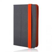"""Univerzális 7-8"""" kinyitható műbőr tablet tok fekete - narancssárga"""