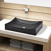 vidaXL Ceramic Bathroom Sink Basin Black Rectangular