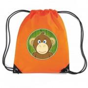 Bellatio Decorations Aap dieren trekkoord rugzak / gymtas oranje voor kinderen
