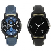 New Blue And Black Leather Belt Analog Best Designing Stylist Combo Watch For Men Boys