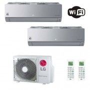 LG Condizionatore Dual Split Parete 9+12 Btu ARTCOOL Silver Argento 9000 12000 AC09SQ.NSJ+ AC12SQ.NSJ+ MU2R15.UL0 R-32 A+++ A+