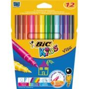 Markere colorate lavabile Bic Visa, 12 bucati/set