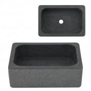 vidaXL fekete folyami kő mosdókagyló 45 x 30 x 15 cm