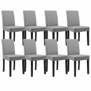 [en.casa]® 8 x sillas tapizadas (gris claro) (alta calidad) con patas de madera maciza / piel sintética / elegante / Set ahorro