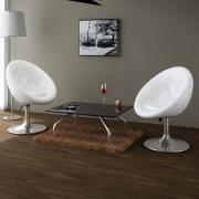 vidaXL Klubová stolička z umelej kože, 2 ks, biela