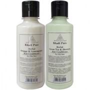 Khadi Pure Green Tea Aloevera and Orange Lemongrass Hair Conditioner Combo (420ml) Pack 2