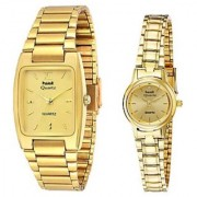 HWT Rectangle Black And Round Dail Golden Metal Watches Couples Combo Pack Of 2 Pcs