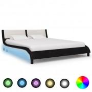 vidaXL fekete és fehér LED-es műbőr ágykeret 160 x 200 cm