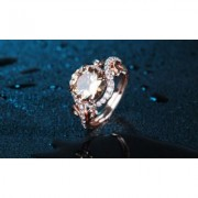 18K Rose Gold Plated Champagne Cubic Zirconia Statement Ring: 6 Orange