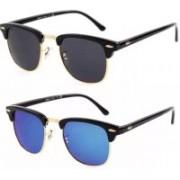 Eyevy Clubmaster Sunglasses(Black, Blue)