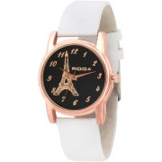 RIDIQA Analog Black Dial Eiffel Tower white colour Strap Watch for Girls- RD-88