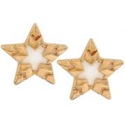 Maayra Designer Star Earrings Golden White Ear Studs Dailywear Jewellery