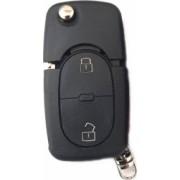 Carcasa cheie compatibil VW briceag 2 butoane +1 buton de panica cu locas baterie negru