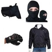 Combo for Summer (Bike Cover+Pro biker gloves+Full Face Mask+Black Wind Cheater Jacket)