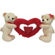 Dealbindaas Standing Teddy Bear Couple Carrying Heart Cream Soft Toy (Cream)