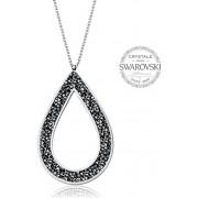 Levien Colier frumos cu cristale negre SS Rocks Pear 49 metal gri