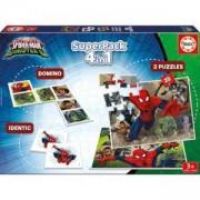Комплект пъзел с игри 4 в 1 Spiderman Educa, 8412668171978