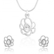 Mahi Rhodium Plated White Oval Floral Pendant Set Made With Swarovski Elements For Women Nl1104111R