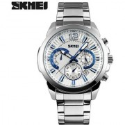 skmei waterproof stainless steel quartz silver chronograph watches with date