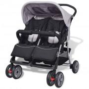 vidaXL Carrinho de bebé para gémeos, aço cinzento e preto
