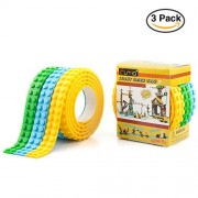 Building Block Tape for Lego Bricks - Funria Self Adhesive Baseplate Brick Tape for Kids, Non-toxic Cuttable Reusable, Compatible with Major Brands (Blue, Green, Yellow)