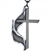 United Methodist Cross & Flame Pewter Necklace
