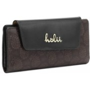 Holii Women Casual Brown, Black Genuine Leather Wallet(20 Card Slots)